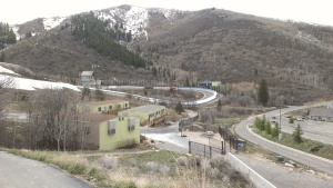 View of the bobsled track from the Salt Lake City Olympic games