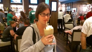 A not very good picture of me enjoying the milkshake.