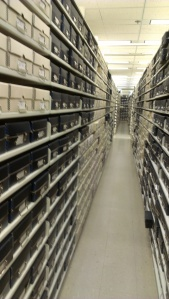 Rows and rows of microfilm