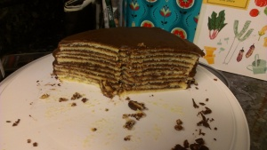 View of the inside of a cut Smith Island Cake