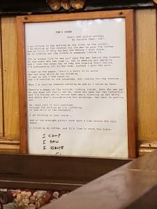 framed lyrics to Tom's Diner by Suzanne Vega
