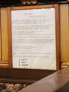 framed lyrics to Tom's Diner by Suzanne Vega