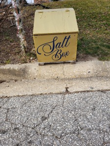 Salt box written in font of Morton salt