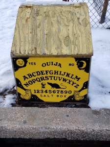 Ouija board salt box art